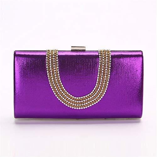 YMQMYZ Damen Diamante Abend Clutch Bag Handtasche Hochzeit Prom Party Box-Handtasche,Lila