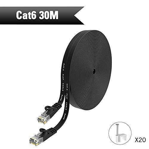 HopeU5-Ethernet-Kabel 30m, Cat6-Netzwerkkabel RJ45-Hochgeschwindigkeits-Patchkabel flach für Switch, Router, Modem, Patchpanel, PC und mehr - Schwarz