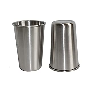 Abimars Stainless Steel drinking Cup 12oz 350ml Food-grade Stackable Tumbler Metal Cups for Kids Camping and Hiking 2 Pack