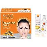 VLCC Papaya Fruit Facial Kit, 60g & Honey Moisturiser, 100ml Combo