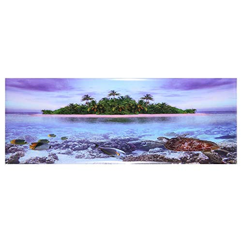Aquarium Poster Aquarium Rückwandfolie 3D Effekt Aquarium Hintergrund Poster Kokosnussbaum Strand Stil PVC Klebstoff Dekor Papier für Dekorative Aquarien(61 * 41cm)