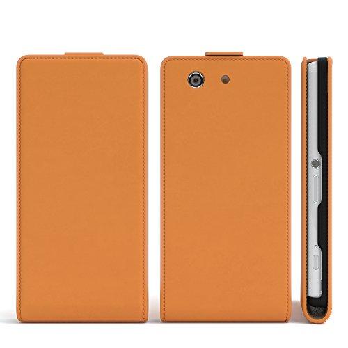 Sony Xperia Z1 Compact Hülle - EAZY CASE Premium Flip Case Handyhülle - Schutzhülle aus Leder in Schwarz Orange (Flip)