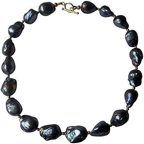 Collana di perle, colore: nero - Coltivate Collana Di Perle Keshi