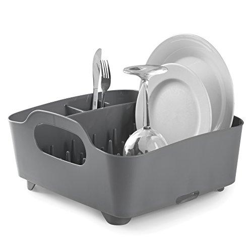 Umbra Tub Geschirr Abtropfgestell – Abtropfkorb mit integriertem Tropfwasserabfluß für Ihre Spüle oder Arbeitsfläche in Ihrer Küche Zuhause, im Büro oder Wohnwagen, Kunststoff/Anthrazitgrau