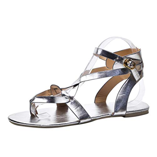 VJGOAL Damen Sandalen, Damen Mode Round Toe Atmungsaktive Lace-up Strand Sandalen Rom Casual Flache Sommerschuhe (42 EU, Silber)