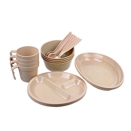 Zhhlinyuan Hi-Quality BBQ Festival Camping Picnic Box with Tableware -Including Plates, Bowls, Mugs, Forks, Spoons