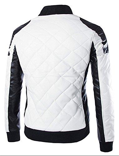 WS668 Herren PU Grille Leder Reißverschluss Mäntel Stehkragen Slim Classic Motorradjacken Outdoor Fashion Tops Mens Coat Weiß Schwarz