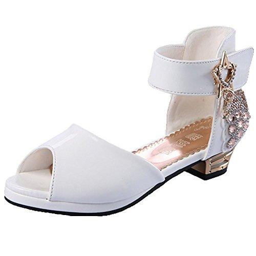 Ohmais Enfants Filles Chaussure cérémonie Ballerines à bride Fête Demoiselle d'honneur Mariage Escarpin à petit talon blanc ouvert