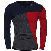 StyleDome T-shirt Maglietta Camicetta Manica Lunga Casuale Cotone Sportiva Sexy Ufficio per Uomo