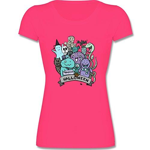 Anlässe Kind - Happy Halloween Monster - 152 (12-13 Jahre) - Fuchsia - F288K - Kinder Mädchen T Shirt leicht tailliert