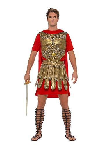 Halloweenia - Herren Männer römischer Gladiator Krieger Feldheer Kostüm mit Tunika, Brustplatte und Rock, perfekt für Karneval, Fasching und Fastnacht, L, Gold (Römische Rock Gladiator)
