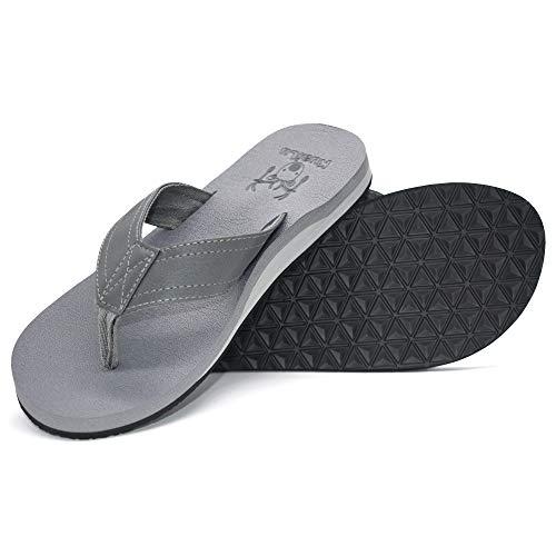 KuaiLu Herren Yoga Schaum Flip Flops Arch Unterstützung Kein Schlupf Leder Zehensandalen (Cool Grey 11 Retro)