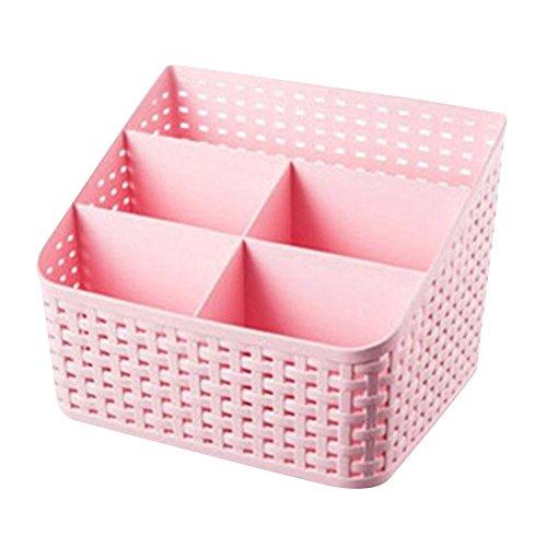 Cuitan Plastica PP Scatola di Immagazzinaggio Storage Box per Telecomando Cosmetici Detriti Casa Accessori, 14.5x19.3x13.8cm 5 Scomparti Rattan Scatola di Stoccaggio Organizzatore Contenitore - Rosa