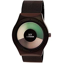NY London Designer Unisex Watch Future Effect Black Charcoal with Watch Box