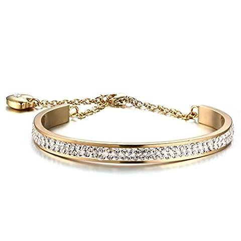 Vnox Chaussures femmes en acier inoxydable Cubic Zirconia Crystal Heart Charm Bracelet réglable Bracelet,plaqué or 18 carats
