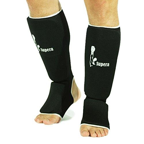 Supera Schienbeinschützer Schienbein Fußschutz Kampfsport MMA Thaiboxen Kickboxen Schienbeinschoner (schwarz, Größe senior)