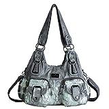 angel kiss Damen Handtasche Lässige Schultertasche Umhängetaschen Hobo Taschen Henkeltaschen Leder für Arbeit Schule Shopper (W7114-1Z-Grau)