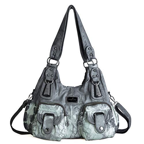 angel kiss Damen Handtasche Lässige Schultertasche Umhängetaschen Hobo Taschen Henkeltaschen Leder für Arbeit Schule Shopper (W7114-1Z-Grau) -
