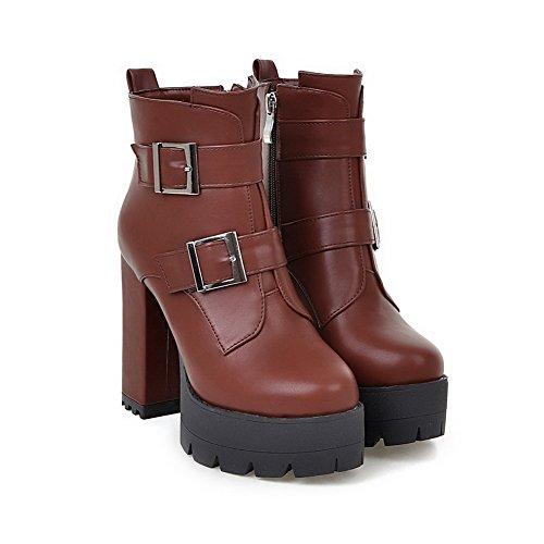 VogueZone009 Damen Hoher Absatz Rein Weiches Material Reißverschluss Stiefel mit Schnalle, Braun, 36