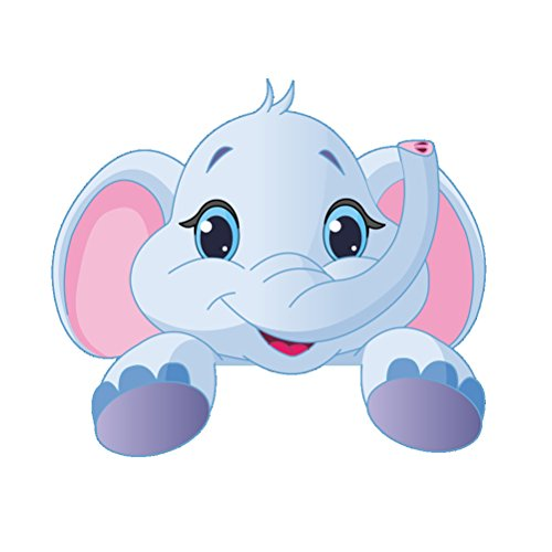 Extraíble Lindo Animales Pegatinas de Pared Interruptor de luz Divertido decoración de la Pared Tatuajes de Arte Mural para la habitación del niño 10x9cm (Elefante)