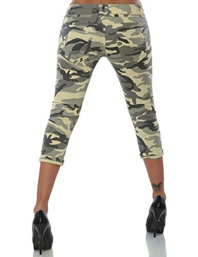 Damen Boyfriend Bermuda Capri-Jeans 7/8 Haremshose Baggy kurze Hose Reißverschluss Knopfleiste No 15633 Camouflage