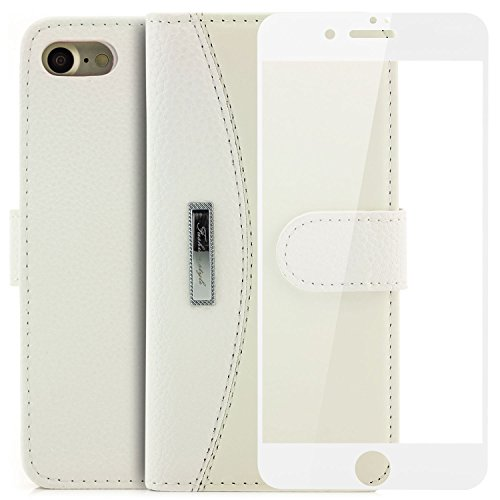 Saxonia Coque + 3D Verre Trempé iPhone 7 Etui Housse Protection Flip avec Poche intérieur Wallet Haute Qualité Blanc [Protecteur d'écran Complet, Blanc], 9H Härtegrad Verre 3D Blanc