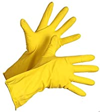 PUFFIN Heavy Duty Disposable Yellow Rubber Latex Kitchen & Household Cleaning Gloves, Powder-Free, 2 Pairs Size Medium