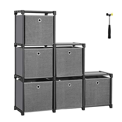 SONGMICS Steckregal 6 Würfel Aufbewahrungssystem mit 6 Stoffboxen DIY Schrank multifunktional mit robustem Metallrahmen Gummihammer 105 x 105 x 30 (B x H x T) Schwarz LSN66BK - Regal Box