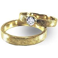 Eheringe SET Diamant Gelbgold mit Gravur - handgefertigt by SILVERLOUNGE