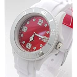 White/Red Ladies/Girls Silicone Watch. 38mm Dial. 16-21cm Strap. Rotating Bezel