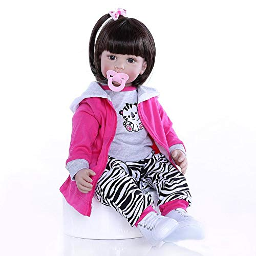 MaMadolls 60cm 24inch Lifelike Soft Silicone Vinyl Reborn Toddler Baby Girl Doll with Short Brown Hair 6-9M Real Baby Size Girl Doll Kids Education Playhouse Doll Collectible Toy -