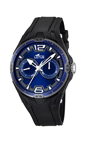 Lotus Men's Quartz Watch with Blue Dial Analogue Display and Black Rubber Strap 18184/1