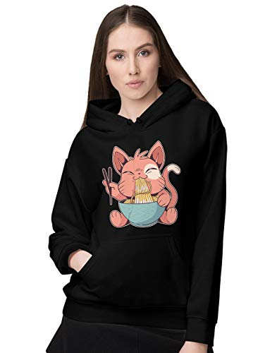 BLAK TEE Damen Cute Anime Cat Eating Ramen Kapuzenpullover XXL
