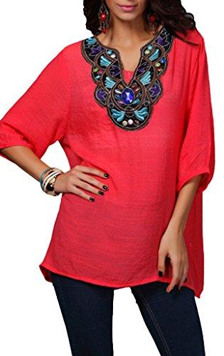 Smile YKK Vogue Broderie T-shirt Femme Large Uni Confortable Rouge