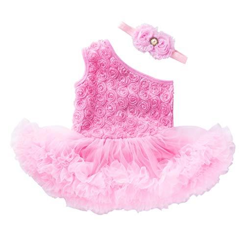 JERFER dress Baby Mädchen Ärmellos Blume Kleid und Stirnband einstellen