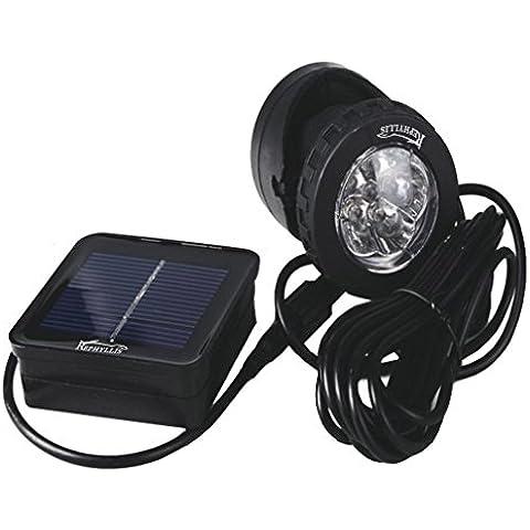 REPHYLLIS 6 LED Esterna Impermeabile IP68 Solare Riflettore Principale Luce-Control Sommergibile Illuminazione a LED per Stagno Giardino Bianco Puro
