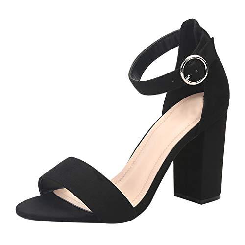 ➤Refill➤ Damen-Pumps,Damen Riemchensandalen 6cm Blockabsatz Sandalen Knöchelriemen Sandaletten Sommer High Heels Schuhe
