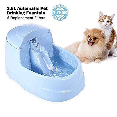 SXJ Großer Katzentrinkbrunnen Automatisch, Hundetrinkwasser-Sauerstoff, Katzentrinkwasserspender, Mute-Brunnen, Aktivkohlefilter, Wasserfilter 2.5L - Wasserschale Hund Brunnen