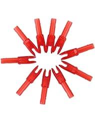 10pcs Flecha Cabeza Culatín Accesorio de Caza Tiro Con Arco Plástico Rojo Transparente
