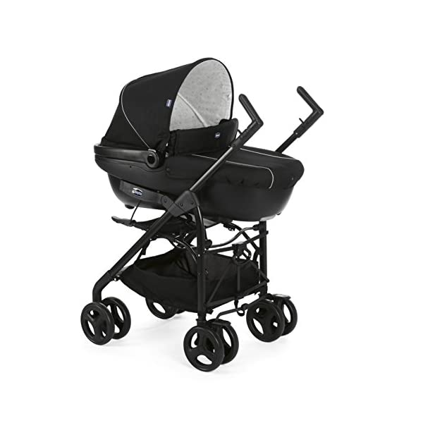 Chicco Trio-System Sprint Black with Car Kit, Black Night Chicco Sprint is a lightweight sports car with a large, comfortable seat / bed With baby shell synthesis 0+ incl. 5-point-belt, kiva with 3-point-belt incl. kit car, rain cover Incl. exit bag with changing mat, footmuff, comfort handles (360 ° ergonomic twist-push handles), hanging basket 7
