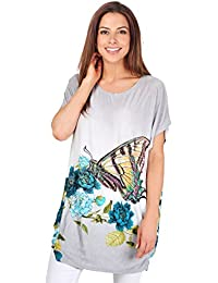 KRISP Damen Kurzarm Longshirt Langes Shirt Sommer Print Tshirt mit Aufdruck