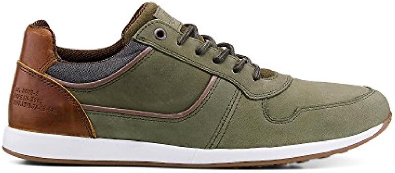 Cox Herren Herren Freizeit Schnürer  Grüne Sneaker im gefragten Vintage Look Grün Leder 42