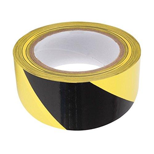 Rubalise (lot de 12) jaune et noir 50 mm x 100 m - Ruban de signalisation de chantier, travaux, balisage - périmètre de sécurité - zone de danger - marque UNIVERS GRAPHIQUE Ref UGRUBAL01