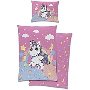 f3658cbe9a Aminata Kids Baby-Bettwäsche-Set Einhorn 100-x-135-cm | Mädchen |  Kinder-Bettwäsche aus 100-% Baumwolle mit Regenbogen, Sternen und Wolken |  rosa, ...