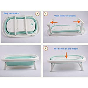 Baby Bath Tub for Toddler Kids Infant - Basin - Foldable Safe Non-Slip Portable (Green)