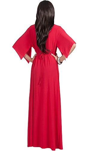 KOH KOH Femmes V -Neck Demi manchon Empire Kaftan longue Maxi Dress Robe Rouge