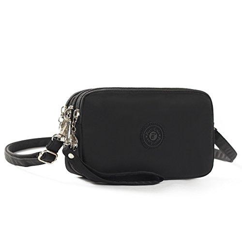 M.way borsa a tracolla per cellulare, portafoglio tre tasche con cerniere borsetta impermeabile in nylon borsa da polso per cellulare meno di 5,5 pollici come iphone6/7 samsung s5 s6 s7 nero