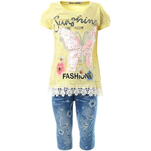 Mädchen Kurzarm Shirt Capri Hose Outfit (2 TLG Set) 21779 Gelb 104