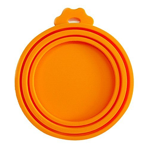 SHOWHAS Pet Feeding Can Tin Food Kit Silicone Pet Food Can Lid Covers One Size Fits All Standard Size Dog and Cat Can Tops (Orange)