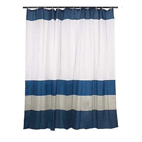Smartfox Duschvorhang Weiß mit blauen Streifen, 120x200 cm, 12 Ösen inkl. 12 Kunststoffringen (Weiß Und Braun Duschvorhang)